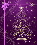 Christmas tree with gold swirls Royalty Free Stock Photos