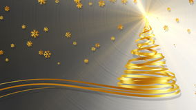 Christmas Tree From Gold Tapes And Snowflakes Over Metal Background. 3D Animation stock video footage