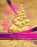 Christmas Tree. Gold and violet Royalty Free Stock Photos