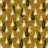 Christmas Tree Gold White Faux Foil Trees Background Royalty Free Stock Image