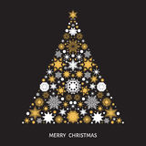Christmas tree with  gold and white  snowflakes, xmas elements  Royalty Free Stock Image