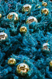 Christmas Tree and Golden Balls for Christmas. Christmas tree and ornamental golden balls for Christmas and New Year Day Stock Photo