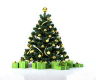 Christmas tree with golden balls, decoration and green gifts packages. Royalty Free Stock Photography