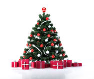Christmas tree with golden balls, decoration and red gifts packages. Stock Images