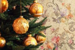 Christmas tree with golden balls stock photos