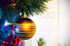 Christmas tree with golden bauble Stock Images