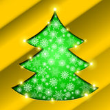 Christmas tree with golden border, snowflakes Stock Image
