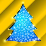 Christmas tree with golden border, snowflakes and. Cutout Christmas tree with golden border, snowflakes and sparkles Royalty Free Stock Image