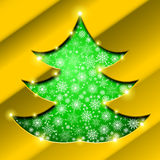 Christmas tree with golden border, snowflakes and sparkles Stock Photography