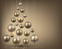 Christmas tree with golden christmas balls. Stock Photos
