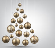 Christmas tree with golden christmas balls. Royalty Free Stock Images