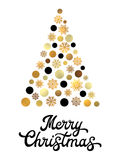 Christmas tree with golden circles and snowflakes. Royalty Free Stock Image