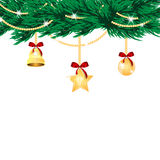 Christmas tree with golden decorations Stock Image