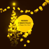 Christmas tree golden lights Royalty Free Stock Images