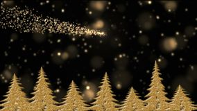 Golden Christmas trees in the holly night, golden lights, star falling. Christmas tree with golden lights and stars, golden pine trees in the magical frosty stock footage