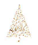 2016 christmas tree with golden metal musical notes isolated on white Stock Photos