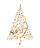 2017 christmas tree with golden metal musical notes isolated on white Royalty Free Stock Photography