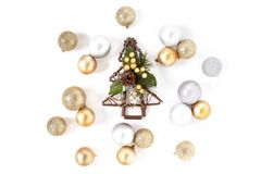 Christmas tree, Golden and Silver Balls Top view White Background Christmas. New Year Royalty Free Stock Photo