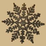 Christmas tree golden snowflake decoration, isolated Royalty Free Stock Image