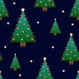 Christmas Tree and Golden Star on Dark Blue Night Sky Background. Vector Illustration.  royalty free illustration