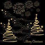 Christmas Tree with golden Stars on black background. Vector illustration vector illustration