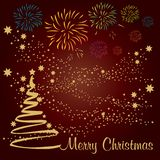 Christmas Tree with golden Stars on red background. Vector illustration royalty free illustration