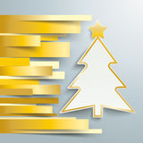 Christmas Tree Golden Stripes. Colored paper lines with christmas tree on the grey background Royalty Free Stock Image