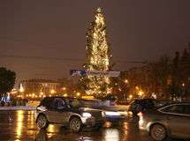 Christmas tree on Gorky square in Nizhny Novgorod Russia Stock Image