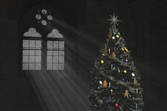 Christmas tree and a Gothic window. Christmas tree standing in the old room with gothic window Royalty Free Stock Photos