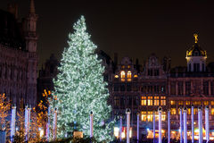 Christmas tree in Grand Place, Brussels, Belgium Stock Photos