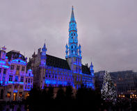 Christmas tree in Grand Place, Brussels stock images