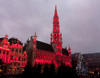 Christmas tree in Grand Place, Brussels stock photography
