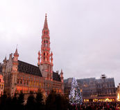Christmas tree in Grand Place, Brussels Royalty Free Stock Image