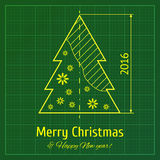 Christmas tree on graph paper Stock Image