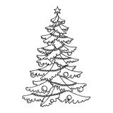 Christmas tree graphic art black white isolated sketch illustration Royalty Free Stock Photos