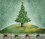 Christmas tree. A Christmas tree on a grassy hill enclosed by a white picket fence stock photo