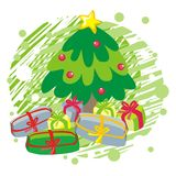 Christmas tree on gree greeting card  illustration Stock Photos