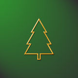 Christmas tree green. Gold chirstmas tree on a green background Royalty Free Stock Photography