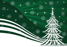Christmas tree and green background Royalty Free Stock Images
