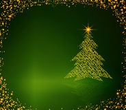 Christmas tree  on green background. Royalty Free Stock Images