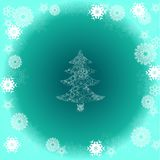 Christmas tree on green background with snowflake Stock Photo
