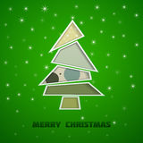 Christmas tree green. Christmas tree on a green background with snowflakes Vector Illustration