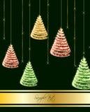 Christmas tree on green background. Vector. Illustration Stock Image