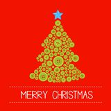 Christmas tree from green buttons. Merry Christmas card. Flat design Stock Photos