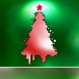 Christmas Tree on green card. EPS 8 Stock Image