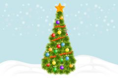 Christmas tree. Green Christmas tree with decorations and garlands. Vector illustration of christmas tree stock illustration