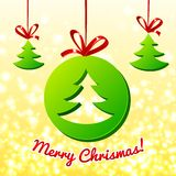Christmas tree in green circle Royalty Free Stock Photography