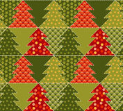 Christmas tree green color abstract background. In patchwork style. seamless pattern vector illustration with fir tree. repeatable peasant style patch fabric Stock Photos
