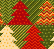 Christmas tree green color abstract background. In patchwork style. seamless pattern vector illustration with fir tree. repeatable peasant style patch fabric Stock Image