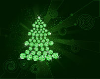 Christmas tree of green diamonds Stock Images